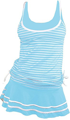 MiYang Women's Tankini Striped Vintage Swim Dress (Light Blue