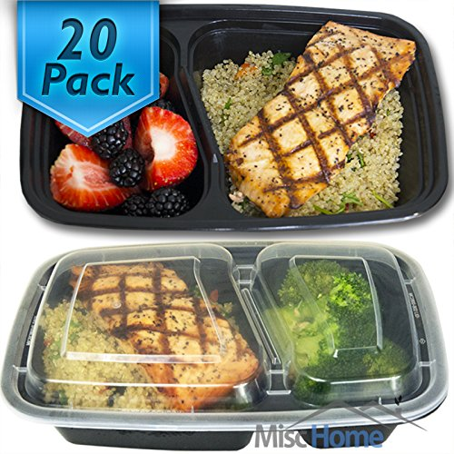 [20 Pack] 32 Oz. 2 Compartment Meal Prep Containers