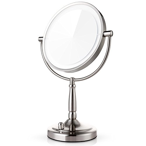Miusco 7X Lighted Magnifying Two Sided Makeup Mirror, Battery