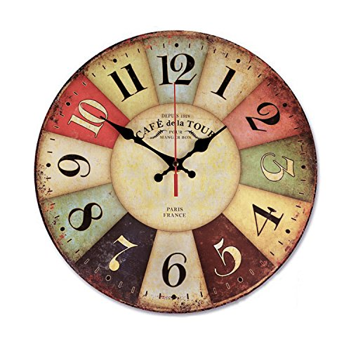 Wood Wall Clock, NALAKUVARA Vintage Colorful France Paris French
