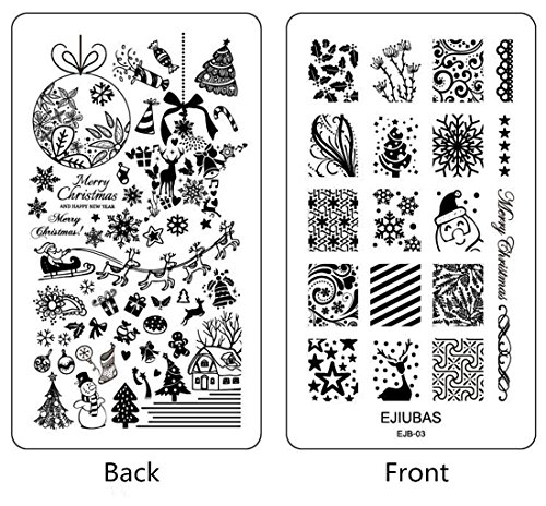 Ejiubas 2 Counts Double-sided New Design Nail Art Stamping