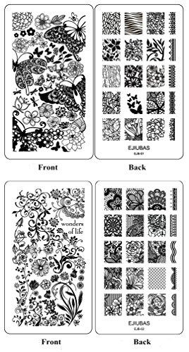 Ejiubas Double-Sided Nail Art Image Manicure Stamping Plates **