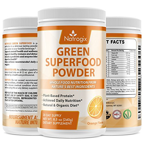 Natrogix Wheat Grass Green Superfood Powder - Whole Vegan