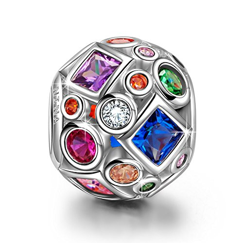 Ninaqueen 925 Sterling Silver Colorful Rainbow Openwork Charms Fit