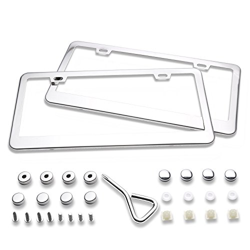 Ohuhu 2 Stainless Steel Polish Mirror License Plate Frame