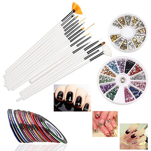 RUIMIO 30 Nail Tape, 15 Nail Art Brush, 12