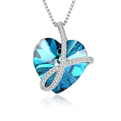 PLATO H Noble Heart Pendant Necklace With Swarovski Crystals