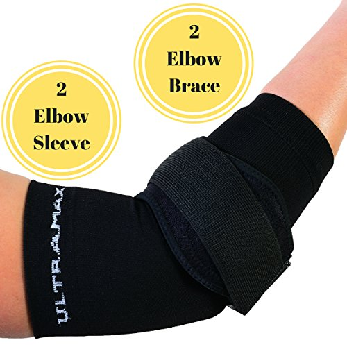Elbow Sleeve and Brace (Large, Black) Includes 2 Elbow