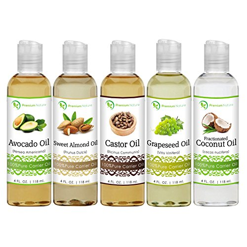5 Piece Variety Carrier Oil Set, Coconut Oil, Castor