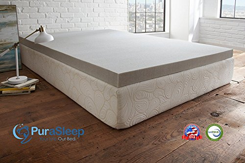 PuraSleep 3″ Carbon Comfort Memory Foam Topper, Grey, Queen