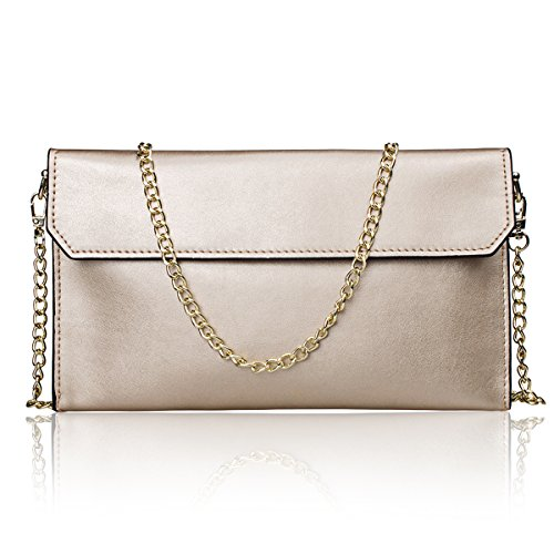 S-ZONE Women's Genuine Leather Evening Envelope Clutches Handbags Shoulder