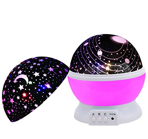 Baby Night Light,SCOPOW Dimmable Rotation Night Lamp Rotating Universe