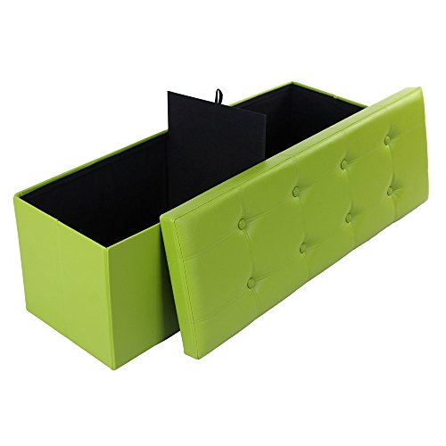 Songmics Faux Leather Folding Ottoman Storage Shoe Bench Armless