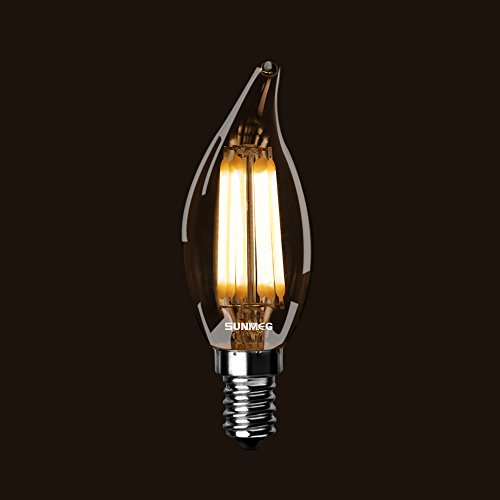 SUNMEG CA10 6W E12 Base Candelabra LED, LED Filament