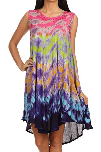 Sakkas 15803 - Nora Sleeveless Embroidered Short Tie Dye