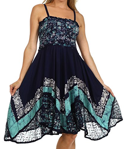 $42.99 Sakkas 55341 Aphrodite Embroidered Batik Dress - Navy /