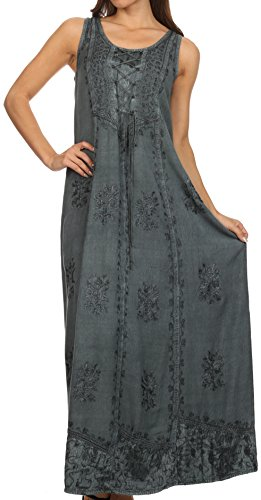 Sakkas 15229 - Stella Long Tank Top Adjustable Caftan