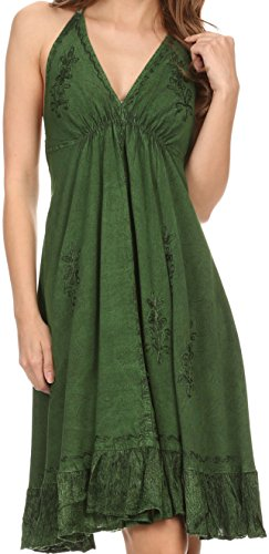 $39.99 Sakkas 161115 - Jia Stonewashed Embroidered Handkerchief Hem Halter