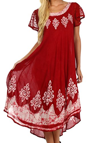 Sakkas B009 Batik Hindi Cap Sleeve Caftan Dress /
