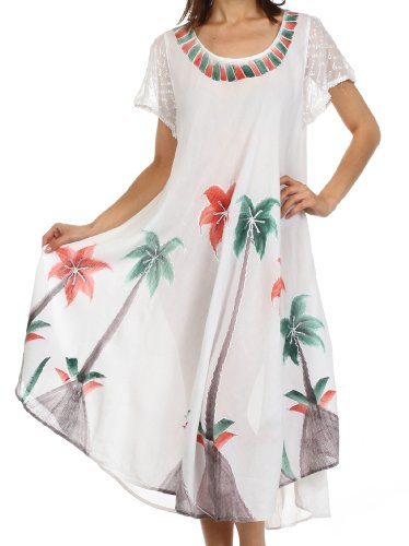 Sakkas 116 Watercolor Palm Tree Tank Caftan Dress -