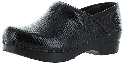 Sanita Women's Professional Croco Clog,Black Patent,38 EU/7.5-8 M US