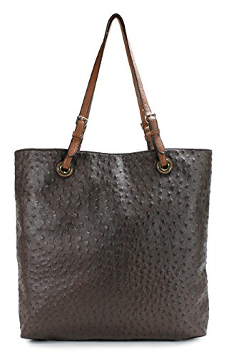 Scarleton Ostrich Large Tote H115621 - Coffee