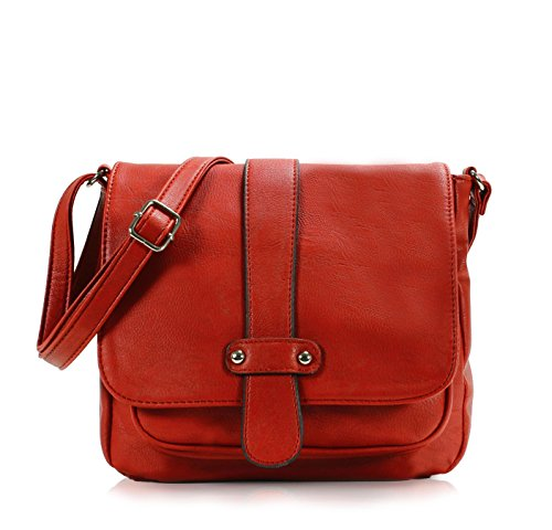 Scarleton Accent Strap Flap Crossbody Bag H153910 - Red