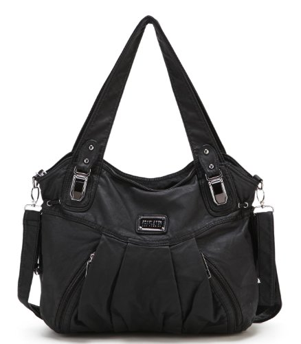 $29.99 Scarleton Zipper Washed Shoulder Bag H147201 - Black