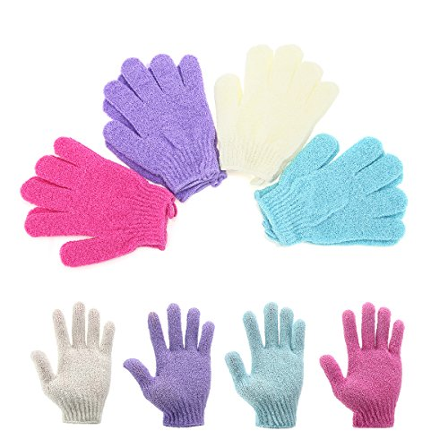 Scheam 4 Pair Exfoliating Shower Bath Glove Scrubber Shower