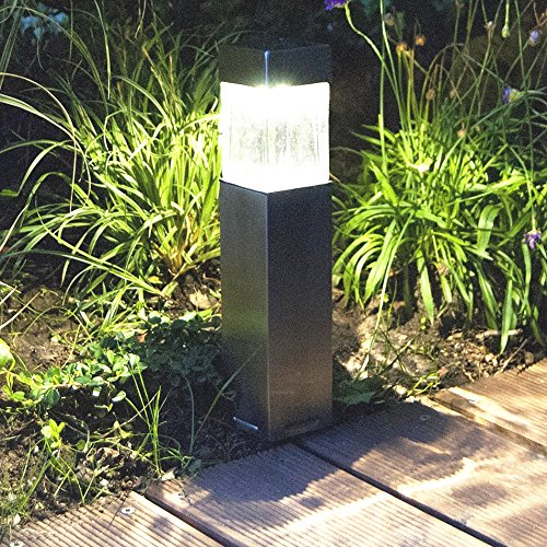 2PACK Satinless Steel Solar Bollard Super Bright Solar Lights