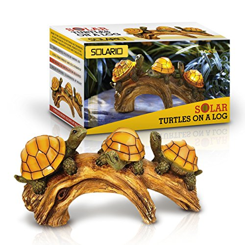 Solar Powered Turtles on Log Decoration- Ultra Durable Polyresin-