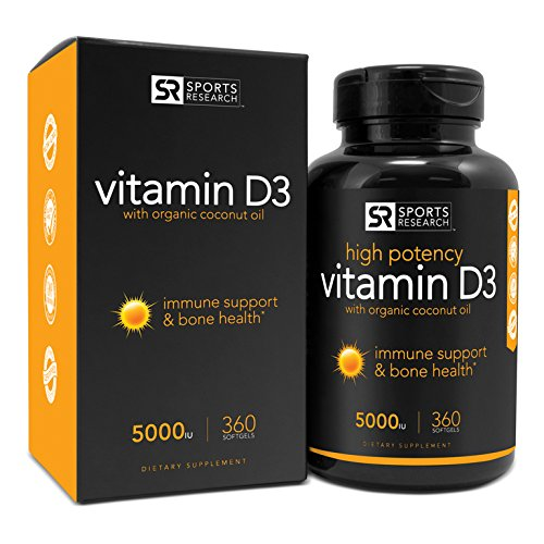 Sports Research Vitamin D3 (5000iu) with Organic Coconut Oil