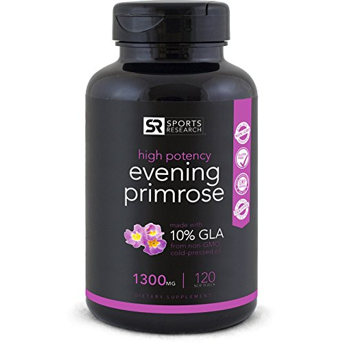 Evening Primrose Oil 1300mg 120 Liquid Softgels, Cold-Pressed with