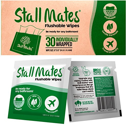 Stall Mates: Flushable, individually wrapped wipes for travel. (30