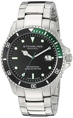 $75.00 Stuhrling Original Men's 8326B.331171 Aquadiver Regatta Elite Swiss Quartz
