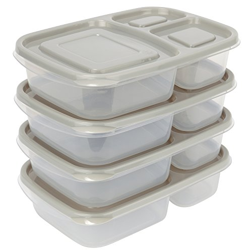 Sunsella Buddy Boxes – 3 Compartment Containers (4 Pack)
