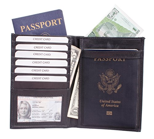 Genuine Leather Passport Cover w/ Currency Pocket for International