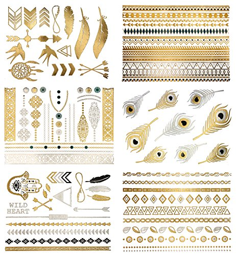 Premium Metallic Tattoos - 75+ Boho  Contemporary Shimmer