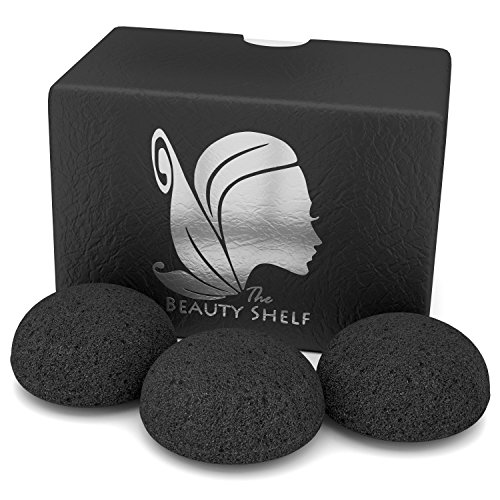 Konjac Sponge (3 Pack) Activated Bamboo Charcoal. Facial Cleansing
