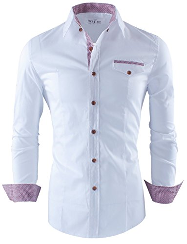 Tom's Ware Mens Premium Casual Inner Contrast Dress Shirt