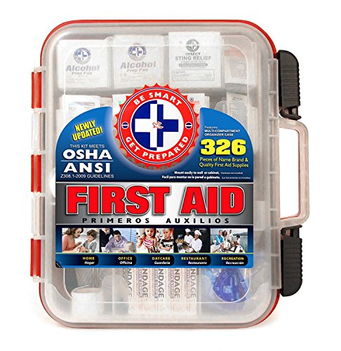 First Aid Kit Hard Red Case 326 Pieces Exceeds
