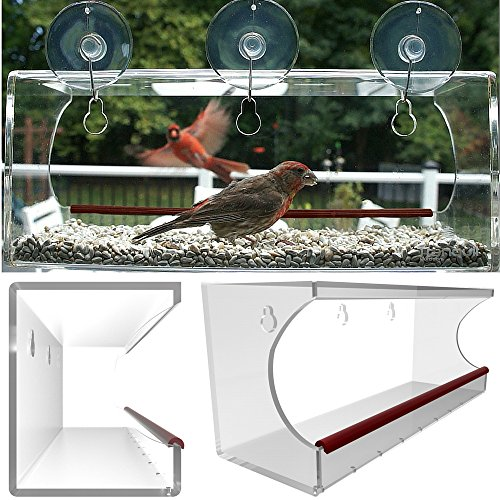 Large Clear Window Mounted Bird Feeder, See Through Acrylic