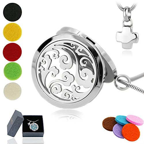 Deluxe Essential Oil Diffuser Necklace Jewelry Wave Design stainless