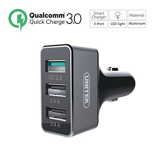Quick Charge 3.0 Car Charger, UNITEK 42W 3 Port