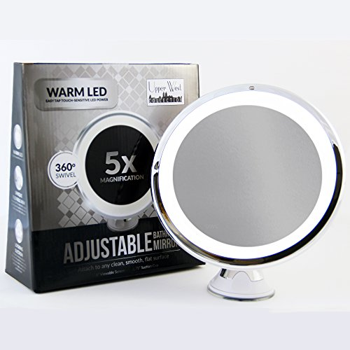 LED Makeup Mirror - Adjustable 5x Magnification Lighted Makeup