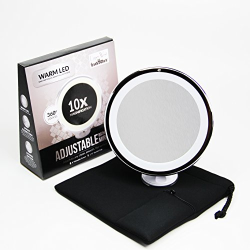 10x Magnifying Lighted Makeup Mirror. Warm LED Tap Light