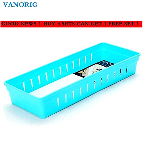 VANORIG Plastic Divider Storage Cabinet, Set of 4, Blue