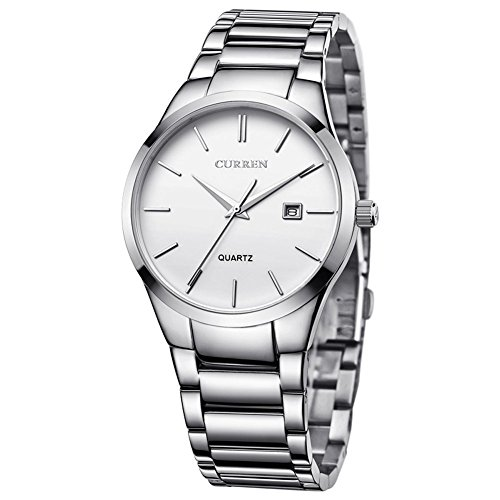 Voeons Men's Watches Auto Date Analog Silver Stainless steel