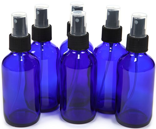 6, Cobalt Blue, 4 oz Glass Bottles, with Black