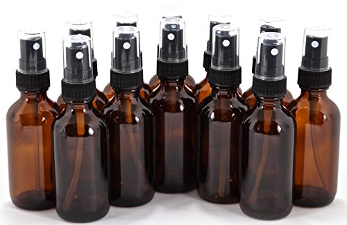 12, Amber, 2 oz Glass Bottles, with Black Fine